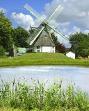 Picturesque landscape with old mill and lake Royalty Free Stock Photos
