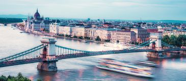 The picturesque landscape of the Parliament and the bridge over the Danube in Budapest, Hungary, Europe.  royalty free stock photo