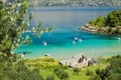 Picturesque landscape of sandy Lovrecina beach on Brac island, Croatia. Picturesque landscape of sandy Lovrecina beach on Brac island in Croatia stock photography