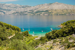 Picturesque landscape of sandy Lovrecina beach on Brac island, Croatia. Picturesque landscape of sandy Lovrecina beach on Brac island in Croatia royalty free stock photos