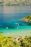 Picturesque landscape of sandy Lovrecina beach on Brac island, Croatia. Picturesque landscape of sandy Lovrecina beach on Brac island in Croatia stock photo