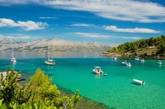 Picturesque landscape of sandy Lovrecina beach on Brac island, Croatia. Picturesque landscape of sandy Lovrecina beach on Brac island in Croatia royalty free stock image