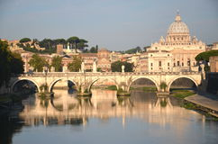 Picturesque landscape of St. Peters Basilica over Tiber in Rome, Italy Royalty Free Stock Photo