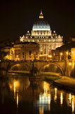 Picturesque landscape of St. Peters Basilica over Tiber in Rome, Italy. Picturesque landscape of St. Peters Basilica over Tiber at night in Rome in Italy Stock Images