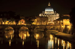 Picturesque landscape of St. Peters Basilica over Tiber in Rome, Italy Royalty Free Stock Photography