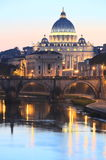 Picturesque landscape of St. Peters Basilica over Tiber in Rome, Italy Stock Image