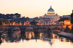 Picturesque landscape of St. Peters Basilica over Tiber in Rome, Italy Royalty Free Stock Photos