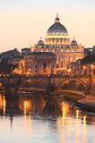 Picturesque landscape of St. Peters Basilica over Tiber in Rome, Italy Stock Photos