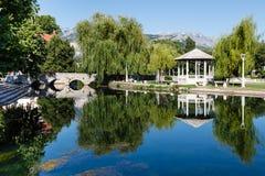 Picturesque Landscape, Stone Bridge, Pavilion Stock Photo