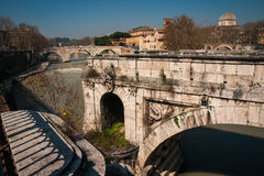 Picturesque landscape  on Tiber river, Rome, Italy Stock Images