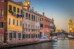 The picturesque landscape, the Venetian canal and the Arsenale di Venezia royalty free stock photography