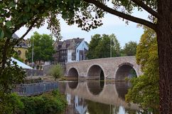 Picturesque landscape view of ancient stone bridge over Lahn River. Autumn sunset. Wetzlar, State of Hesse, Germany.  royalty free stock photos