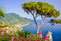 Picturesque landscape from Villa Rufolo in Ravello, Italy. Every year in the summer Ravello Festival takes place which began in 1953 in honour of Richard Royalty Free Stock Photography