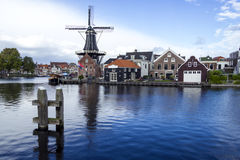 Picturesque landscape with windmill. Haarlem. Holland Royalty Free Stock Images