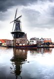 Picturesque landscape with windmill. Haarlem Stock Photo