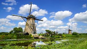 Picturesque landscape with windmills. Kinderdijk Royalty Free Stock Photography