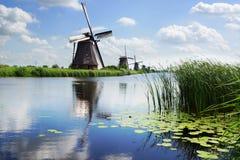 Picturesque landscape with windmills. Kinderdijk Stock Images