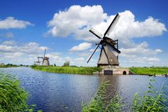 Picturesque landscape with windmills. Kinderdijk Stock Images