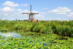 Picturesque landscape with windmills. Kinderdijk Stock Photos