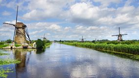Picturesque landscape with windmills. Kinderdijk Stock Photography