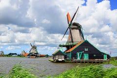 Picturesque landscape with windmills in Zaandijk Royalty Free Stock Photo