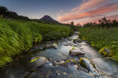 Free Picturesque Landscape With River And Volcano. Royalty Free Stock Images - 78540269
