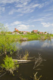 Picturesque lanscape of Gniew over Wierzyca river in Poland Stock Image