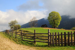 The picturesque little farm in the Carpathian Mountains, Mizhhir Stock Image