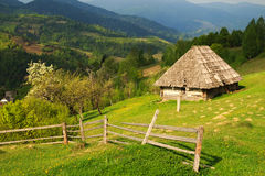 The picturesque little farm in the Carpathian Mountains, Mizhhir Royalty Free Stock Image