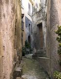 Picturesque little narrow street in Forza d`Argro on Sicily Stock Photos