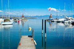Picturesque little port and sailing boats on Lake Geneva in Morges. Switzerland stock photos