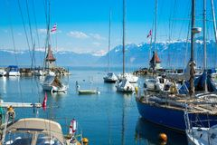 Picturesque little port and sailing boats on Lake Geneva in Morges. Switzerland stock photography