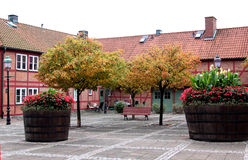 Picturesque little square in Ystad, Sweden Royalty Free Stock Photo