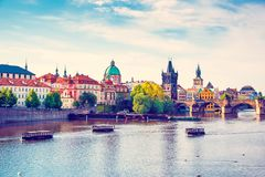Picturesque magical beautiful landscape with Charles Bridge on t stock photos