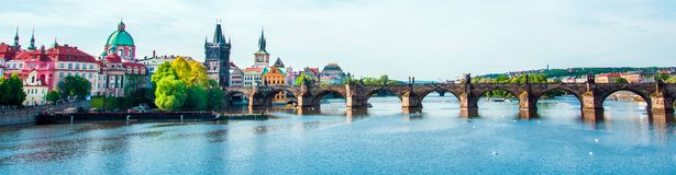 Picturesque magical beautiful landscape with Charles Bridge on t royalty free stock photos