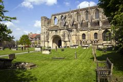 Picturesque Malmesbury Abbey. Historic Malmesbury Abbey in spring sunshine, Wiltshire, UK Stock Photography