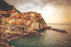 Picturesque Manarola at sunset Stock Image