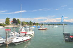 Picturesque marina in Wasserburg on Lake Bodensee, Germany Stock Photo