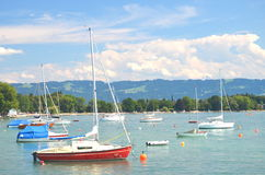 Picturesque marina in Wasserburg on Lake Bodensee, Germany Stock Images