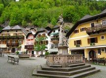 The picturesque Marktplatz or Market Square, UNESCO World Heritage village of Hallstatt Stock Photo