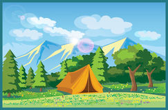 Picturesque meadows vector illustration