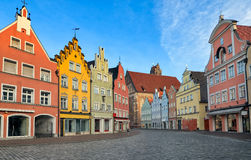 Picturesque medieval gothic houses in old bavarian town by Munic. Picturesque medieval gothic houses in old bavarian town Landshut near Munich, Germany Royalty Free Stock Photography
