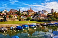 Picturesque medieval Old Town of Murten on Lake Morat, Switzerland stock images