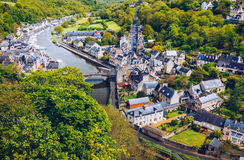 The picturesque medieval port of Dinan on the Rance Estuary, Bri Stock Photography