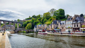 The picturesque medieval port of Dinan on the Rance Estuary, Bri Stock Photo