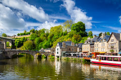 The picturesque medieval port of Dinan on the Rance Estuary, Bri Royalty Free Stock Photos
