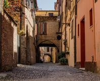 The picturesque  medieval street of Ferrara, Italy Stock Image