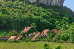 Picturesque medieval village Chateau-Chalon under the mountain Stock Images