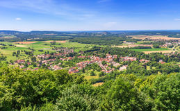 Picturesque medieval village Chateau-Chalon in valley Royalty Free Stock Photo