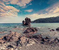 Picturesque Mediterranean seascape in Turkey. View of a small ba Royalty Free Stock Images